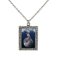 21 World Tarot Card Frame Necklace