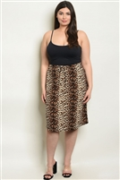 Plus Size Leopard Print Fitted Waist Midi Skirt
