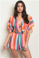 Sheer Tie Detailed Multi Striped Romper