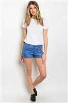 Blue Denim Superhero Patch Shorts