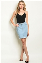 Frayed Hem Fitted Waist Denim Skirt