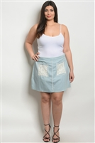 Plus Size Pocket Detailed Denim Skirt