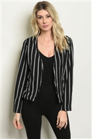 Striped Accented Detailed Blazer