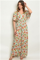 V Neck Adorned Floral Printed Jumpsuit