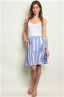 Striped Fitted Ruffled Skirt