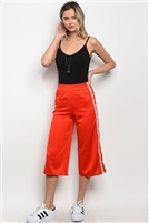 Cropped Track Pants - Red