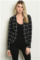 Checkered Grid Striped Blazer