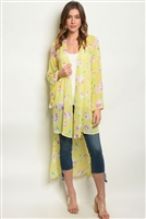 Sheer Floral Printed High Low Duster Kimono