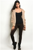 Fleeced Lined Leggings - Brown