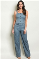 Button Adorned Top & Belted Trouser Pants Set (2 Piece Set)