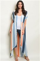 Multi Colored Striped Duster Kimono