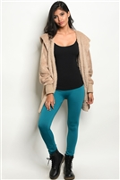 Fleeced Lined Leggings - Teal