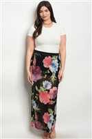 Plus Size Sheer Mesh Floral Printed Maxi Skirt - Black Blue
