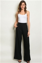 Button Detailed Solid Palazzo Pants