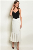 Button Adorned Ruffled Maxi Skirt