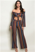 Striped Off The Shoulder Crop Top and Flare Pants Set (2 Piece Set)