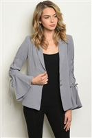 Laced Up Bell Sleeves Detailed Blazer