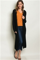 Solid Knitted Long Cardigan