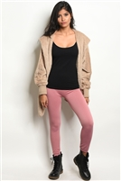 Fleeced Lined Leggings - Mauve