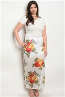 Plus Size Sheer Mesh Floral Printed Maxi Skirt - White Yellow