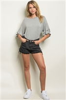 Denim Crochet Adorned Tie Shorts