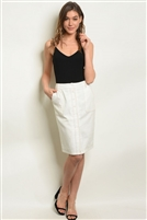 Button Adorned Pocketed Knee Length Skirt