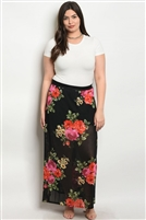 Plus Size Sheer Mesh Floral Printed Maxi Skirt - Black Red