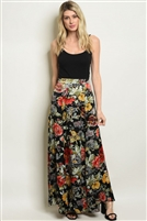 Fitted Waist Floral Print Maxi Skirt