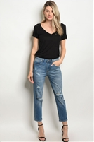 Mid Rise Ripped Distressed Boyfriend Jeans