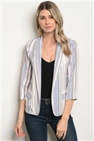 Striped Patterned Detailed Blazer