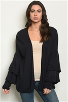 Knitted Ruffled Sleeves Cardigan