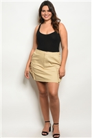 Plus Size Button Up Cargo Mini Skirt