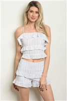 Striped Ruffled Top & Shorts Set - (2 Piece Set)