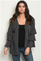 Striped Ruffled Tiered Cardigan
