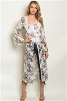 All Over Lace Floral Printed Duster Kimono