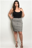 Plus Size Fitted Checkered Mini Skirt - Black Yellow