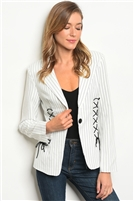 Striped Laced Up Detailed Blazer - White