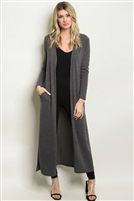 Knitted Ribbed Long Cardigan