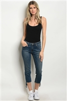 Medium Wash Ankle Length Skinny Jeans