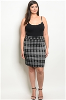 Plus Size Fitted Checkered Mini Skirt - Black White