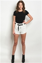 Belted Denim Cut Off Shorts