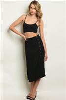 Side Buttoned Adorned Split Skirt