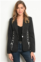 Striped Laced Up Detailed Blazer - Black