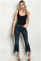 Dark Wash Frayed Ankle Length Skinny Jeans