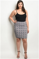 Plus Size Fitted Checkered Mini Skirt - Navy Red
