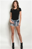 Leopard Detail Denim Shorts