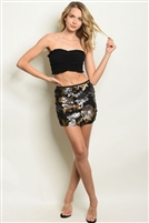 Sequins Adorned Fitted Mini Skirt