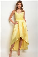Scooped Neck High Low Satin Gown - Yellow