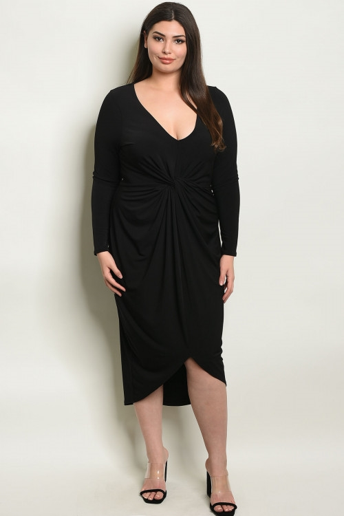 Plus Size Draped Front Adorned Dress - Black