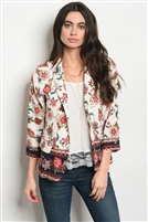 Flowers Adorned Printed Blazer